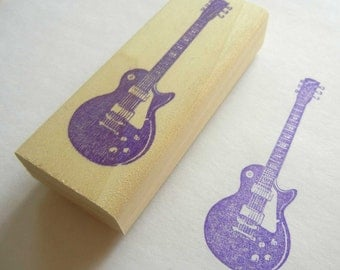 Musical Instrument Rubber Stamp Les Paul Electric Guitar