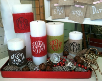 Burlap Candle Wraps with Monogram
