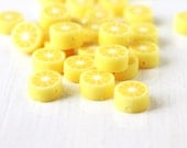 25pcs Polymer Clay Lemon Beads in Bright Lemon Yellow, Cute Fun Fruity Lemon Slices Center Drilled 10x5mm - StarJuice