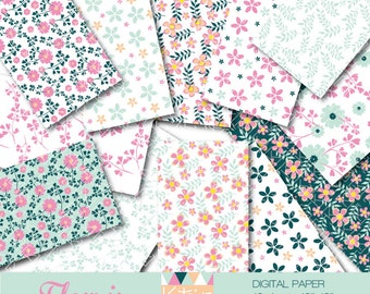 "INSTANT DOWNLOAD  Digital paper ""Fleuris"" of 12 sheets  for scrapbooking, tag, invitation, decoration..."