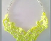 Neon Yellow Lace Bib Statement Necklace New Style - 16 inch