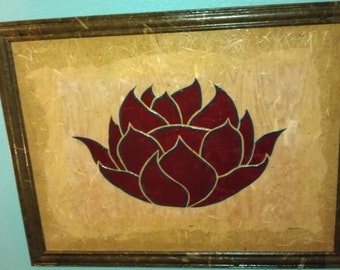 Buddhist Lotus 2 ORIGINAL Mixed Media 30x40 inches (Outer Frame Dimensions36 3/4 x 46 3/4 inch) F