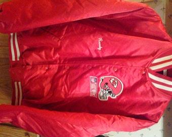 Vintage NFL Kansas Chiefs Shiny Red Satin Jacket