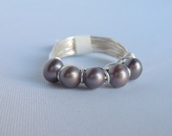 Grey Pearl Band Ring Wire Wrapped Silver, Gold or Bronze - Size 3, 4, 5, 6, 7, 8, 9, 10, 11, 12, 13 and 1/2 sizes