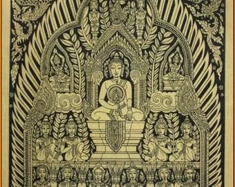 Thai traditional art of Buddha by silkscreen printing on cotton(12)