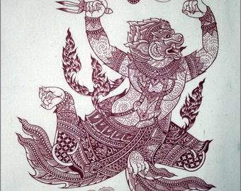 Thai traditional art of Hanuman by silkscreen printing on Natural colors cloth.(Red)