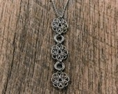 Hand Woven Chainmaille Recycled Sterling Silver Drop Pendant Necklace: Yoga Jewelry Vegan Jewelry Shanti Ahimsa Mantra Meditation Healing