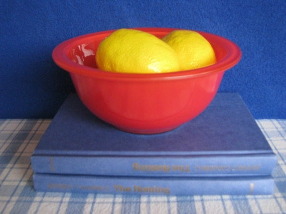 Vintage Pyrex Red Mixing Bowl Clear Bottom 1980's