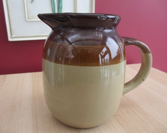 Vintage Brown and Eggshell Stoneware Pitcher SALE ITEM