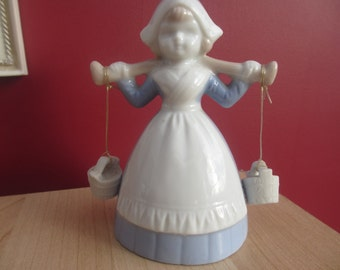 Vintage Porcelain Dutch Girl Carrying Pails Bell   SALE ITEM