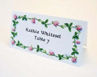 Flower Place Card - Wedding Place Card - Event Escort Card - Customized - Clover Chain