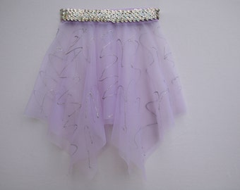Lavender Handkerchief Style Dance Skirt with Silver Sequins and Glitter