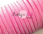 "3/8"" Glitter Elastic FROSTED Shocking Pink- Elastic By the Yard- Glitter Fold Over Elastic- Foe- Foldover Elastic- DIY Headbands- Hair Ties"