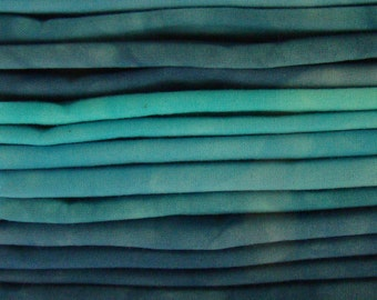 FREE SHIPPING - Hand Dyed Cotton Quilt Fabric - Out of the Blue