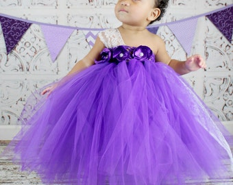 Beautiful Purple Flower Girl Tutu Dress with Lace accents and Handmade singed satin roses any color available