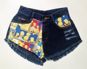 SIZE 3 - The Simpsons High-Waisted Vintage Denim Shorts