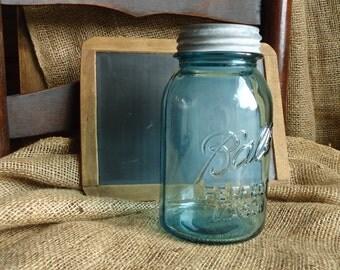 Aqua Blue Ball Mason Jar with lid, vintage kitchen storage