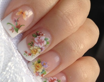 Nail WRAPS Nail Art Water Transfers Decals - Bouquet Roses & Butterfly's YD096