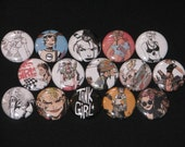 15 Very Rare TANK GIRL Flatback or Pinback buttons 1 inch badge (Set 4)