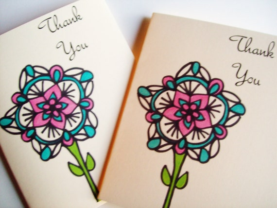 Thank You Note Cards Pink and Green Flower Set of 2