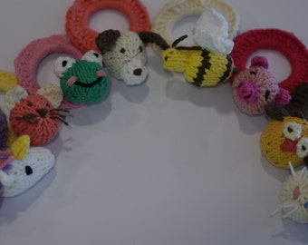 Knitted Children's Ponytail Holder with Interchangeable Animals (AniBand with Tiny AniPal)