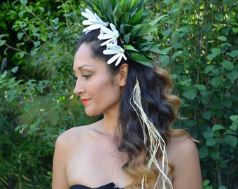 White Tiare Tahiti with silk ti leaf hair piece