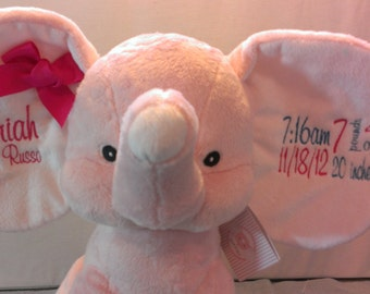 """Personalized Baby Gift, """"Baby Cubbies"""" Dumble Elephant, Birth announcement stuffed animal keepsake with machine embroidery"""