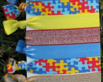 7 Pack Autism Awareness The Missing Piece Puzzle Pieces Glitter Knot Hair Ties Stretch Fold Over Elastic PonyTail Holder Bracelet A1