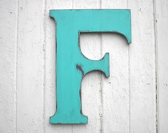 wedding guest book alternative 18 inch f shabby chic wooden letters rustic wall art aqua green