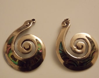 Vintage Sterling Silver 11.9 Gram Swirl Earrings With Inlaid Abalone For Repurposing