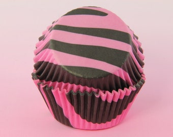 Pink and Black Cupcake Liners Zebra 2'' Standard Size , Baking Cups