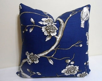 Navy Blue Pillow cover- Robert  Allen Vintage Blossom Printed Cotton  Fabric in Twilight -   20x 20 inch -