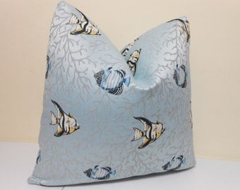 Blue Pillow cover- Coral Angel fish Pattern - Decorative Pillow Cover- Accent Pillow - Throw Pillow -    20 x 20 inch -
