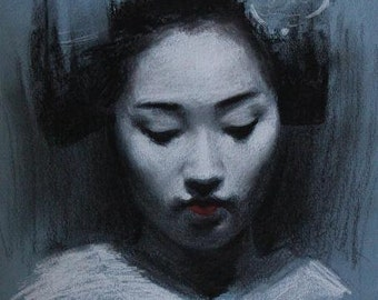 "Blue Maiko - 8"" x 10"" signed digital print of a charcoal drawing - geisha art"