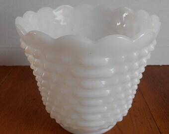 Vintage Fire King Milk Glass Planter Vase Hobnail Scalloped