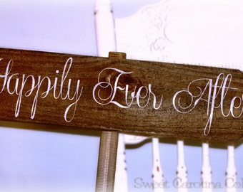 Happily Ever After Starts Here Personalized Wooden Wedding Sign - WS-47