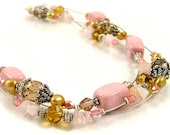 "CLEARANCE - Dramatic Triple Strand ""Illusion"" Pink and Gold Statement Necklace"