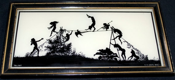 Reverse painted Silhouette  K.W. DIEFENBACH Tallimit art Fairies animals playing