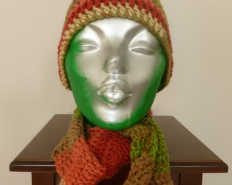 SALE - Crocheted Variegated Rust, Brick, Green, Olive, Brown and Tan Hat and Scarf for Adult