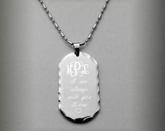 Custom Dog Tag, Personalized Silver Dog Tag Necklace With Scalloped Edges Custom Engraved Free, Stainless Steel Dog Tag, Free Engraving