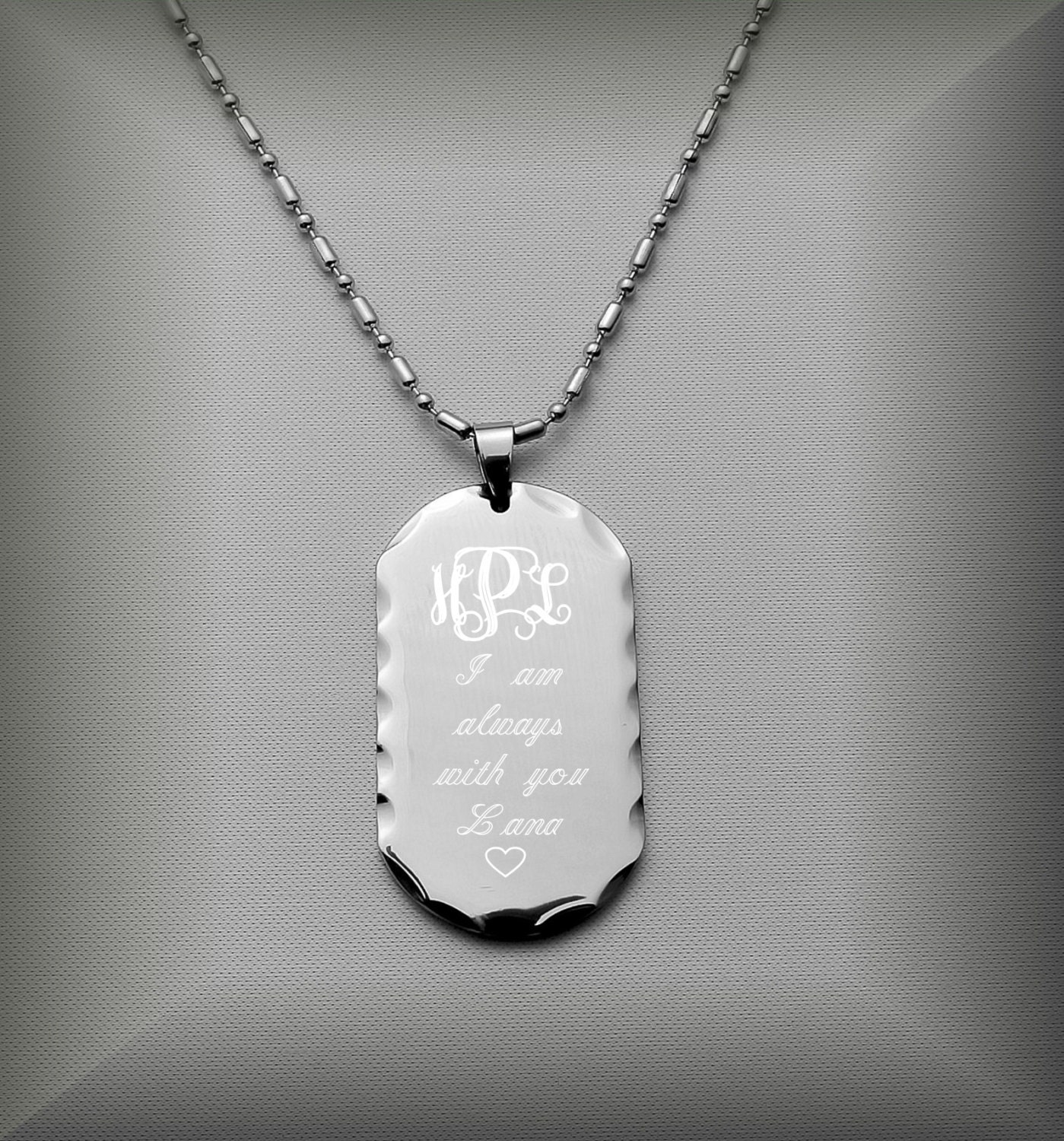 custom dog tag personalized silver dog tag necklace with. Black Bedroom Furniture Sets. Home Design Ideas