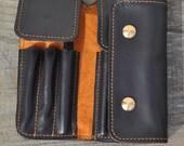 Handmade  Leather Pen case-pen bag for parker-black leather