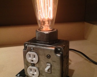Dimmable Industrial Desk lamp (patina) Industrial Phone Charger - Edison Bulb - Laptop Charger - Steampunk - Office Decor - Charging Station