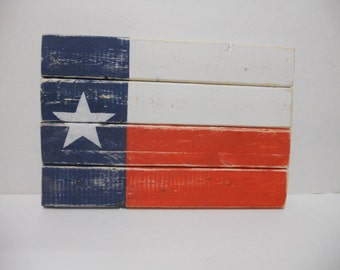 Small Rustic Wood Texas Flag, Distressed Finish, shabby chic flag