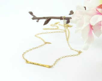 Hammered Gold Bar Necklace on dainty gold chain, Whisper Chain, Hammered Jewelry, Dainty Jewelry