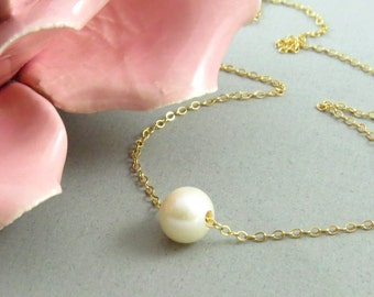 Single Pearl Necklace, Pearl Bridal Jewelry, Bridesmaid Necklace, Bridesmaid Gift, Wedding Jewellry, Wedding Pearl Necklace