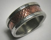 Rustic Wedding band Mens Wedding Band Promise Ring Hammered Ring Copper Silver Mens wedding Ring Unique Mens Ring Rustic Ring