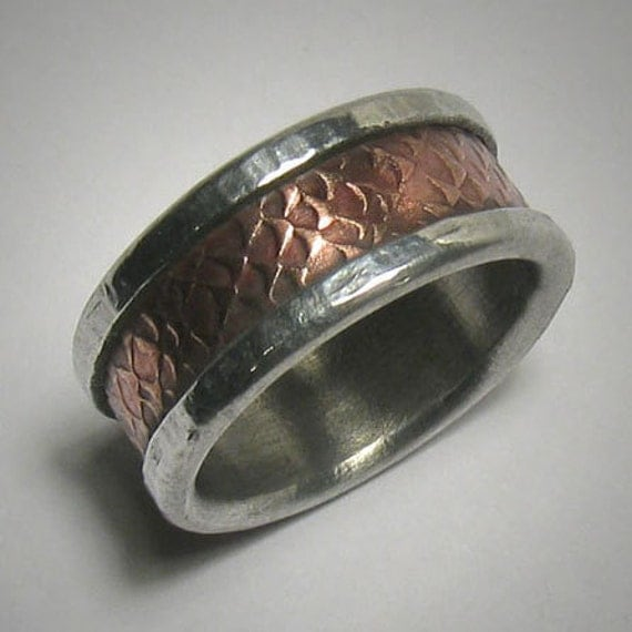 Mens Wedding Band Custom Textured Copper And By DougDesigns