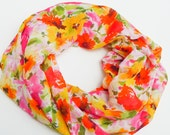Poppy Floral Loop Scarf, Circle, Lightweight, Sheer, Colorful, Bright, Gift, Flowers, Garden, Fun