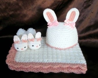 Baby Girl Gift Set - Bunny Slippers, Bunny Hat and Car Seat Blanket